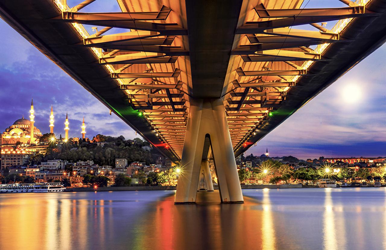 Фотографии Стамбул Турция Metro Bridge Мосты Вечер Здания Города мост Дома город