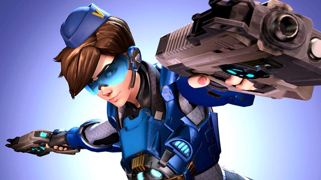 Картинка Овервотч Пистолеты Tracer Девушки 3D Графика Игры Очки Overwatch