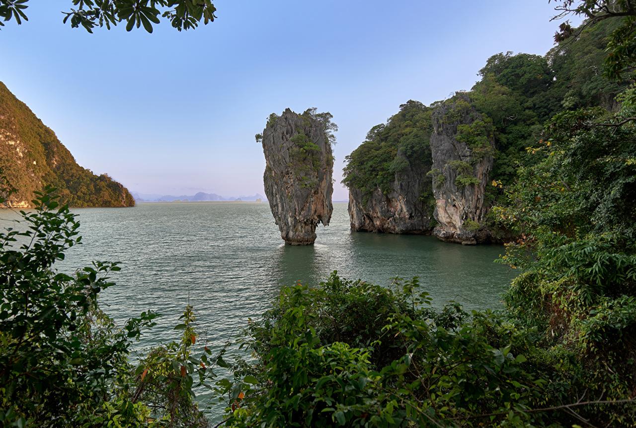 Фотография Таиланд Khao Phing Kan скале Природа Парки Залив Утес Скала скалы парк залива заливы