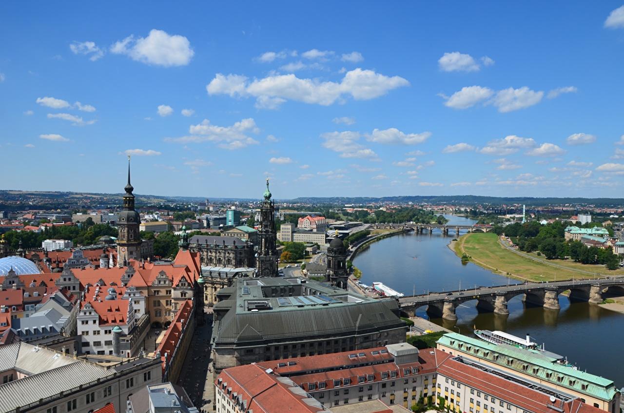 Картинки Дрезден Германия Elbe мост река Дома Города Мосты Реки речка город Здания