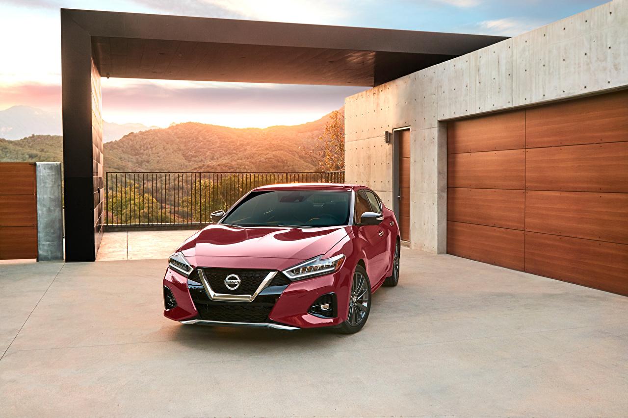 Картинки Ниссан 2019 Maxima Platinum Бордовый Металлик Автомобили Nissan бордовая бордовые темно красный авто машина машины автомобиль