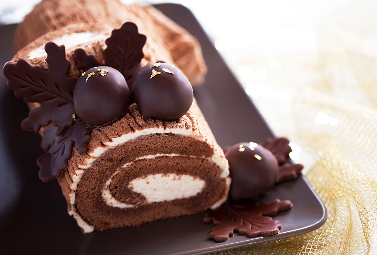 Фото Рулет Шоколад Продукты питания сладкая еда Еда Пища Сладости