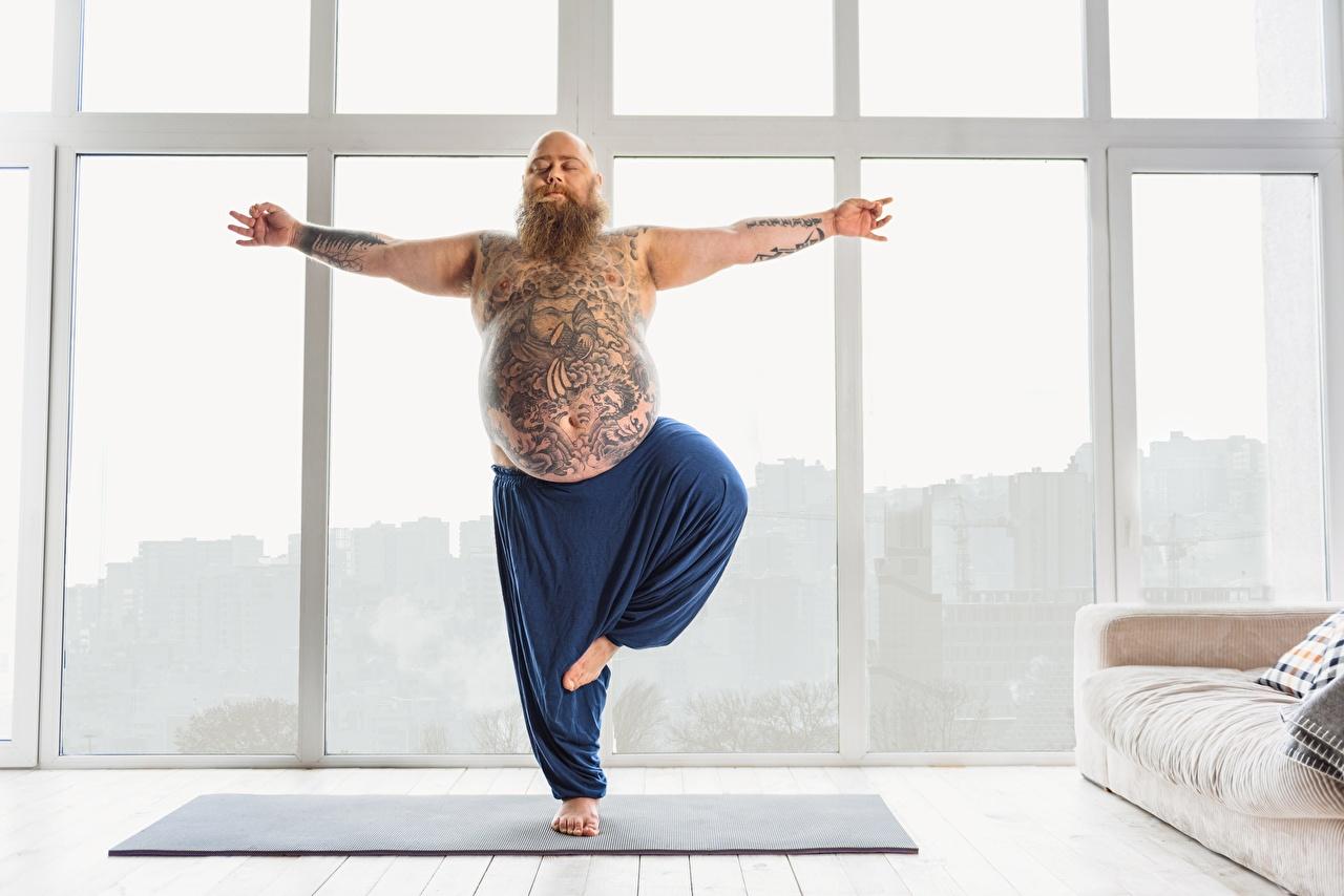 Фотографии Татуировки Йога мужчина Фитнес Толстый спортивные тату татуировка йогой Мужчины жирный жирная толстая Спорт спортивная спортивный