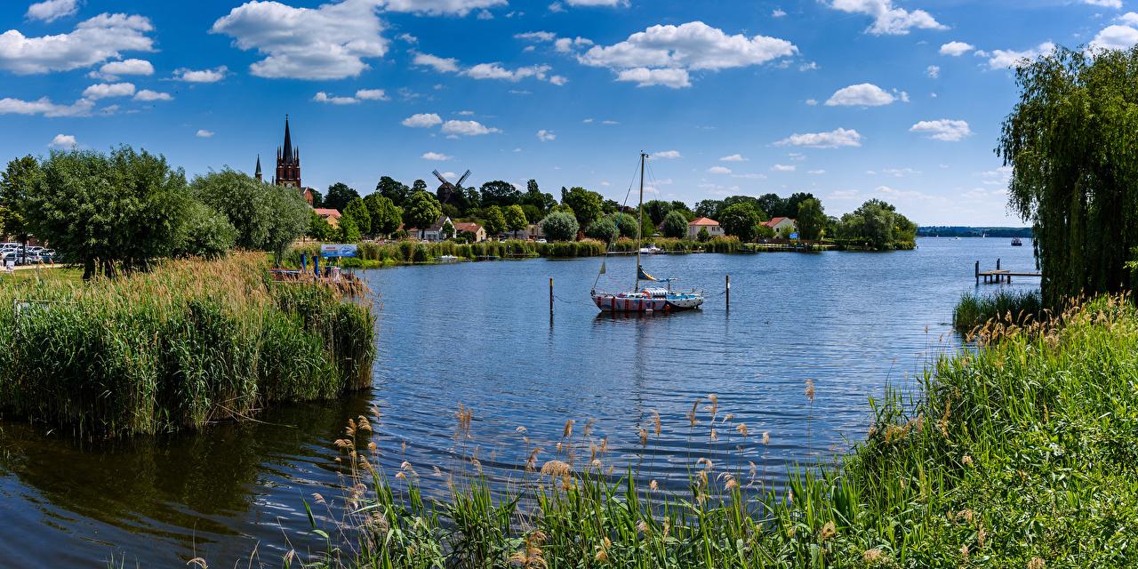 Фотографии Церковь Германия Havel Природа речка Лодки облачно Реки река Облака облако