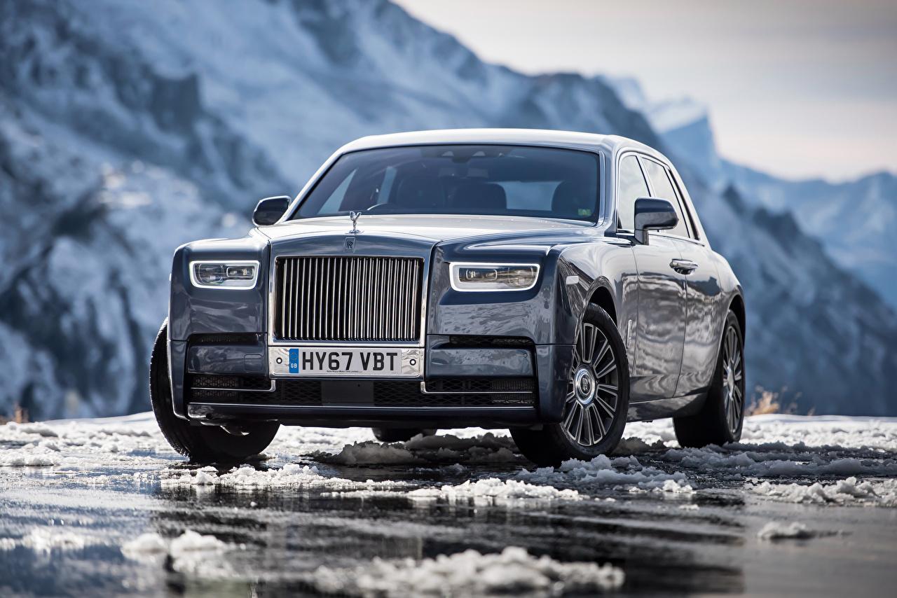Обои для рабочего стола Rolls-Royce Phantom Спереди Металлик Автомобили Роллс ройс авто машина машины автомобиль