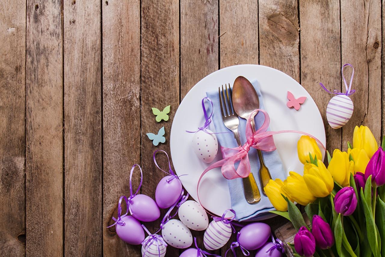 Картинка Пасха яиц Тюльпаны Цветы вилки ложки тарелке Доски яйцо Яйца яйцами тюльпан цветок Ложка Тарелка Вилка столовая
