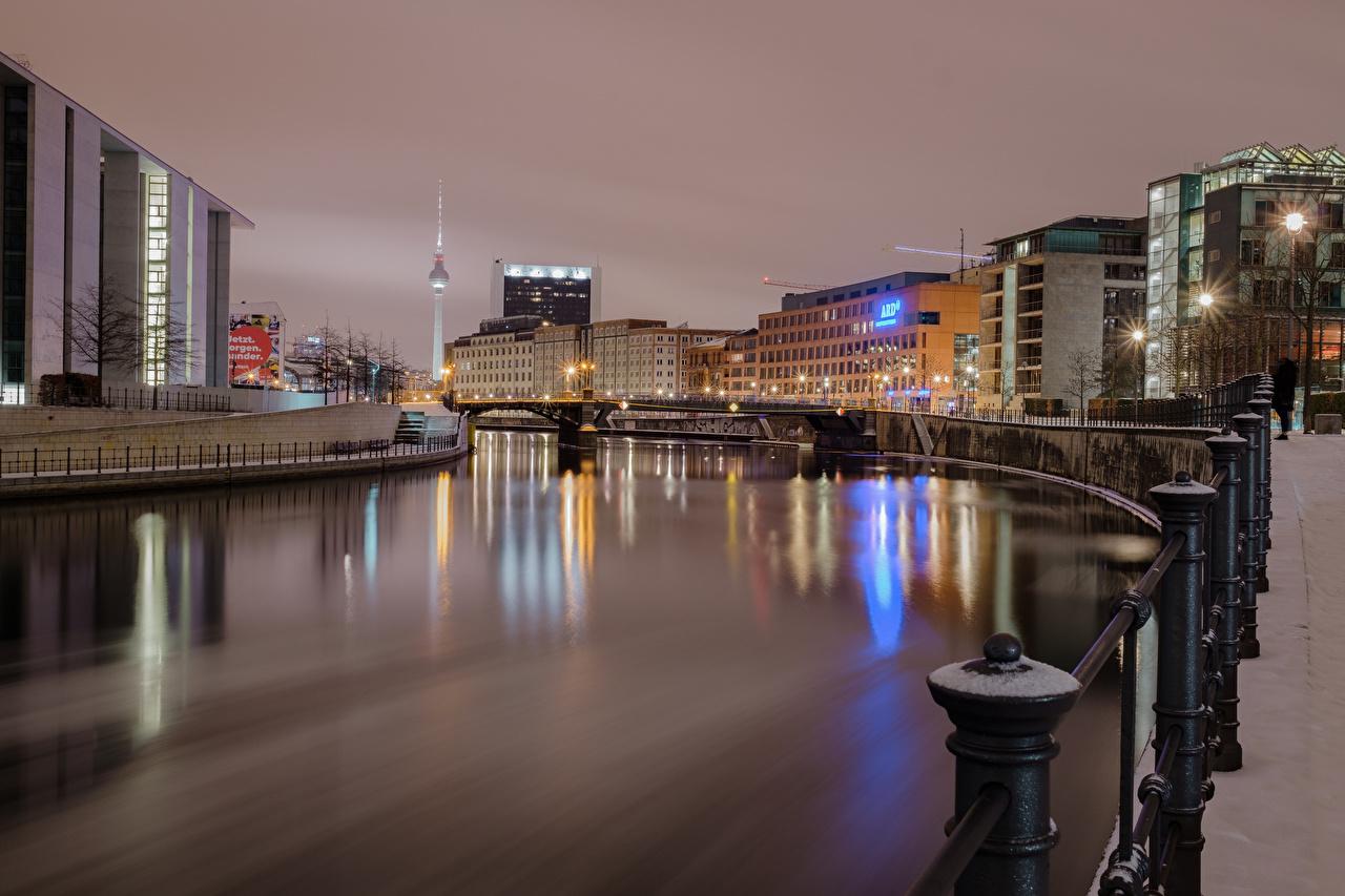 Фотография Берлин Германия Реки Дома город река речка Здания Города