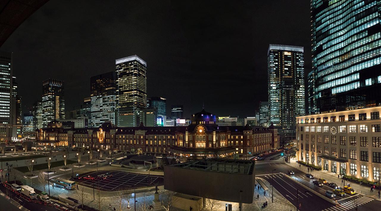 Фотография Токио Япония улиц ночью Дома Города Улица улице Ночь в ночи Ночные город Здания