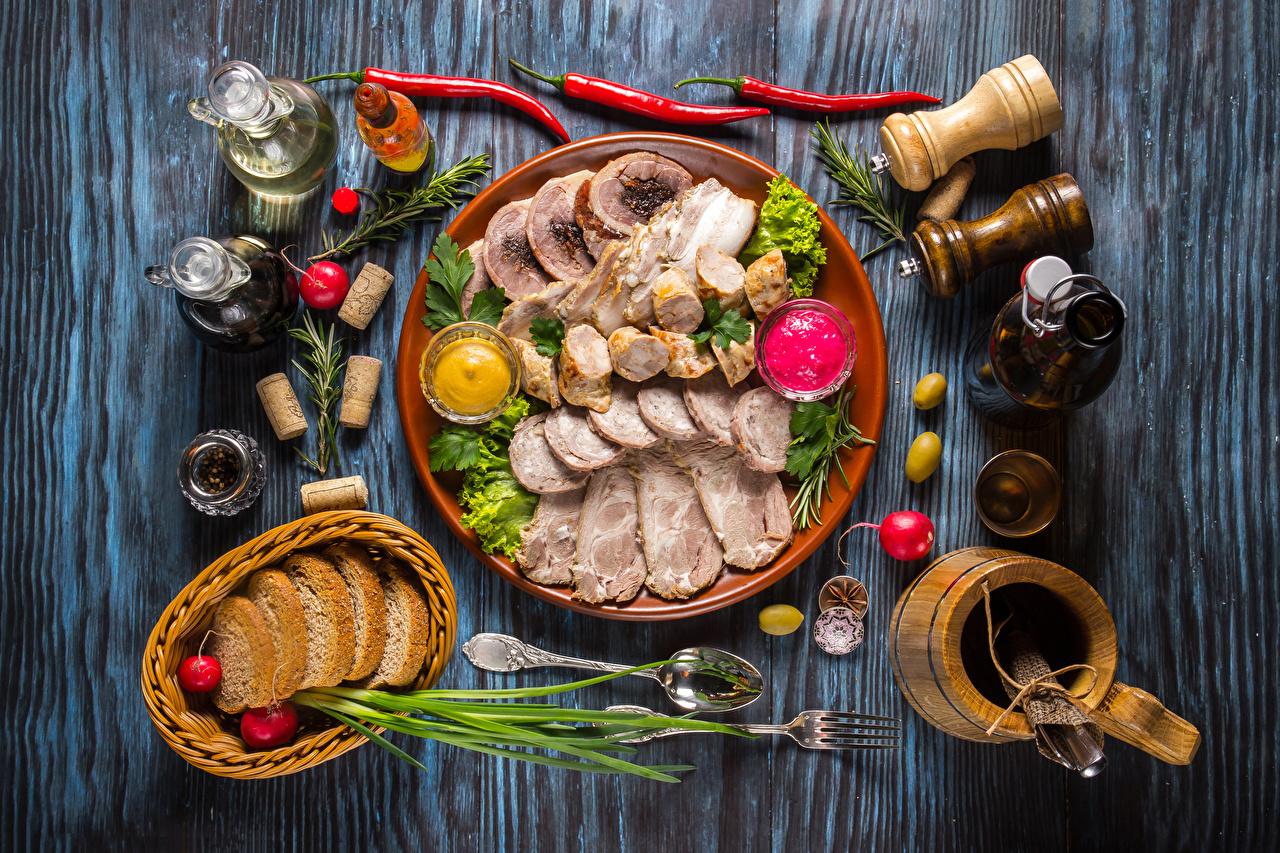 Картинка Хлеб кувшины Ветчина Тарелка Продукты питания Мясные продукты Доски Кувшин Еда Пища тарелке