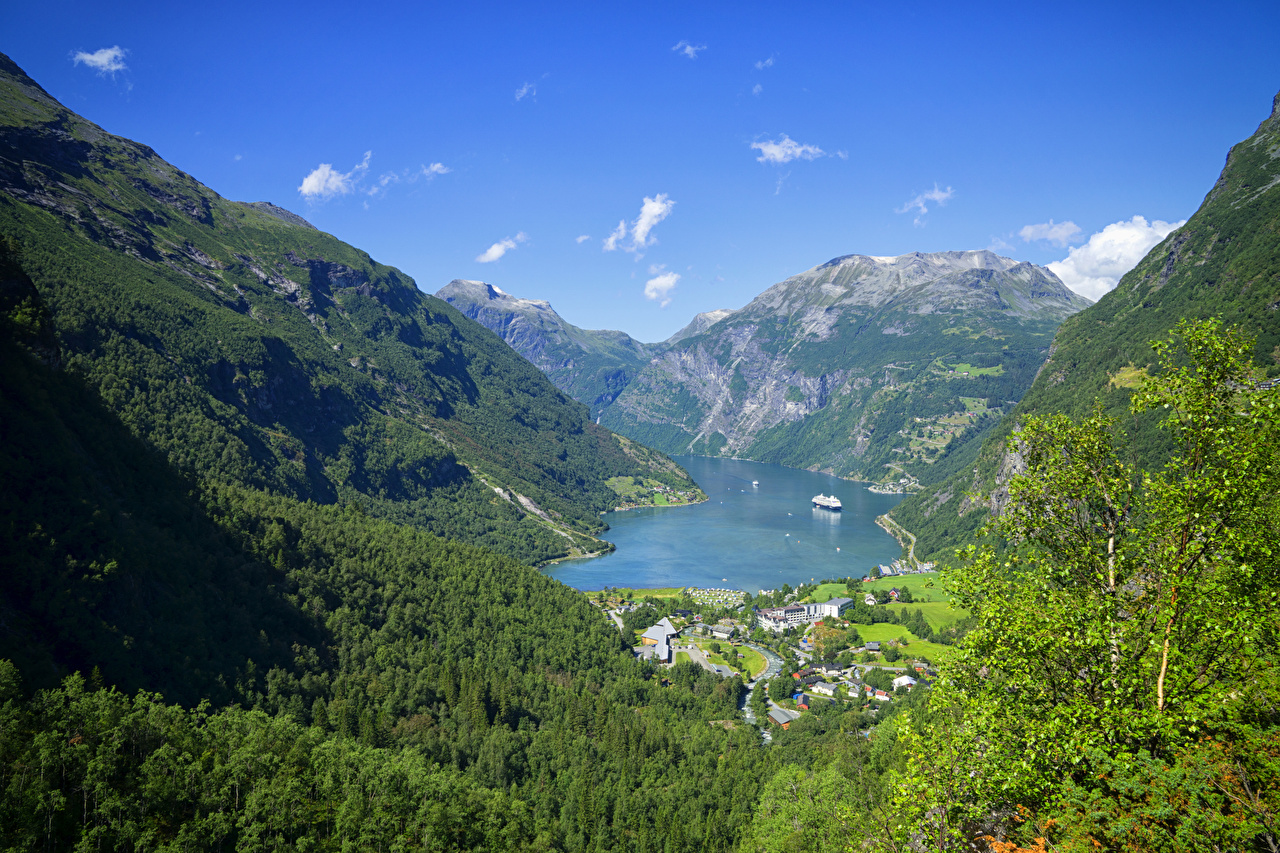 Обои для рабочего стола Норвегия Geiranger Fjord гора Природа лес Мох Залив Дома Горы Леса мха мхом заливы залива Здания