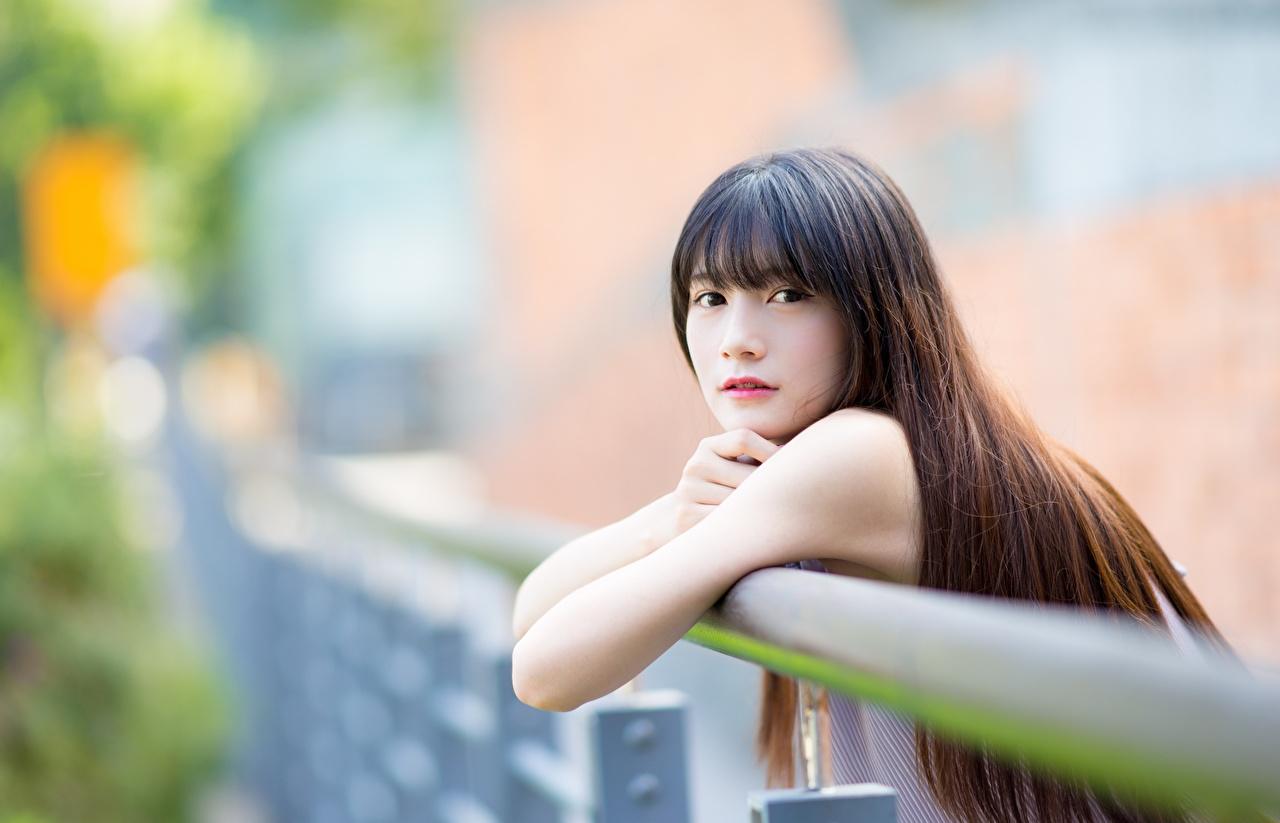 Обои для рабочего стола Шатенка боке волос девушка азиатки Руки смотрит шатенки Размытый фон Волосы Девушки молодая женщина молодые женщины Азиаты азиатка рука Взгляд смотрят