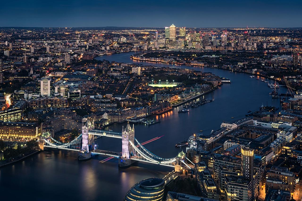 Фотографии лондоне Англия Мосты Реки Сверху город Лондон мост река речка Города