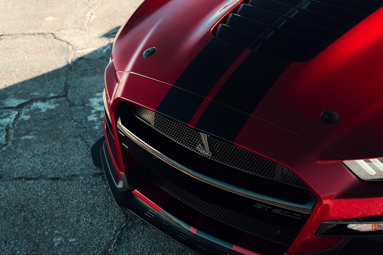 Фотографии Ford Капот Mustang Shelby GT500 2019 авто полосатый Крупным планом Форд машины машина Полоски полосатая Автомобили автомобиль вблизи