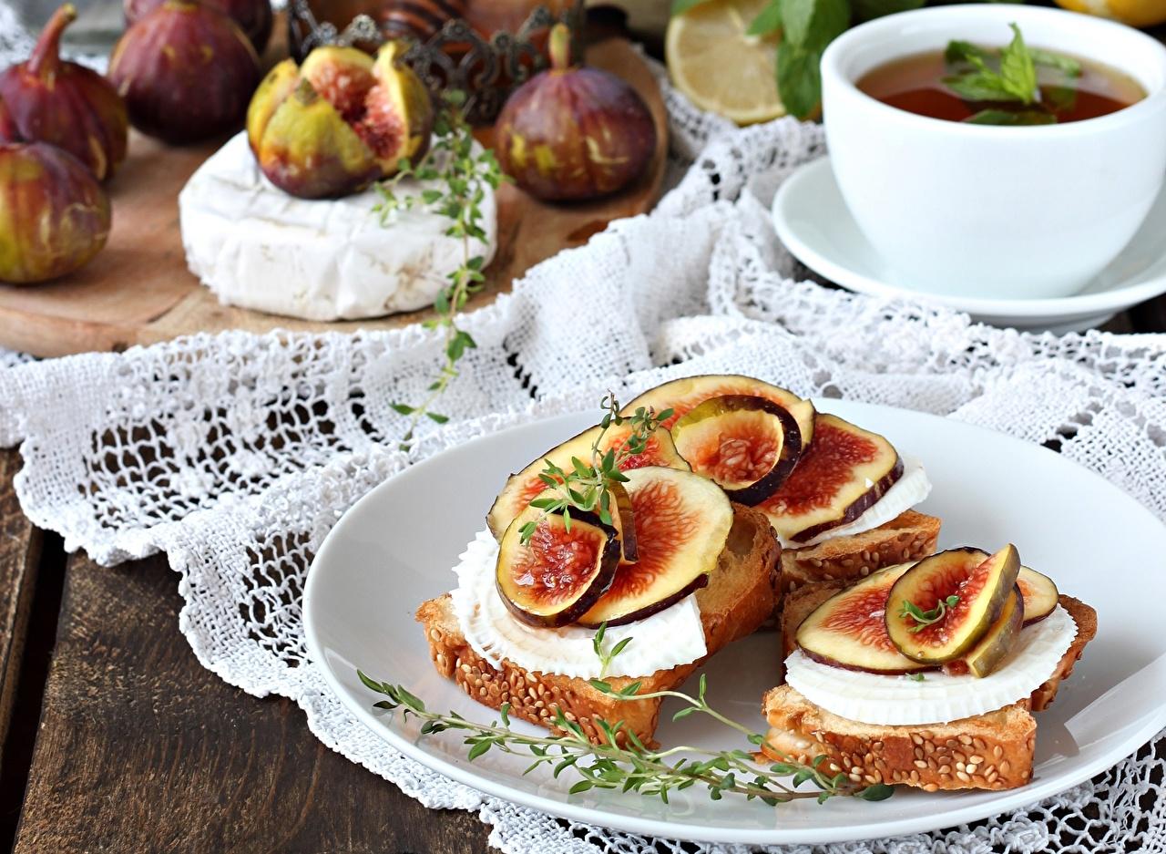 Фотографии Инжир бутерброд Еда Бутерброды Пища Продукты питания