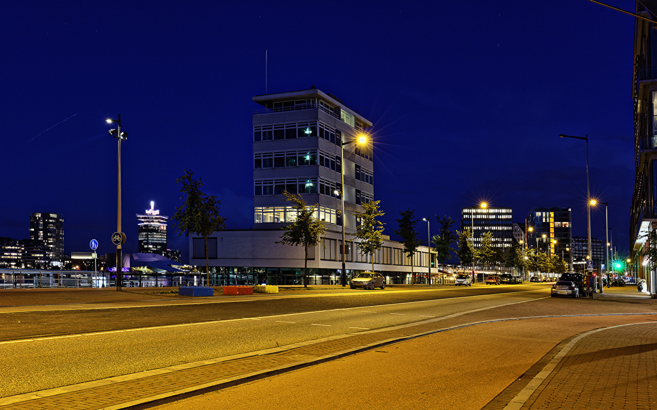 Фотографии Амстердам Нидерланды Дороги Ночные Уличные фонари город Здания Ночь ночью в ночи Дома Города