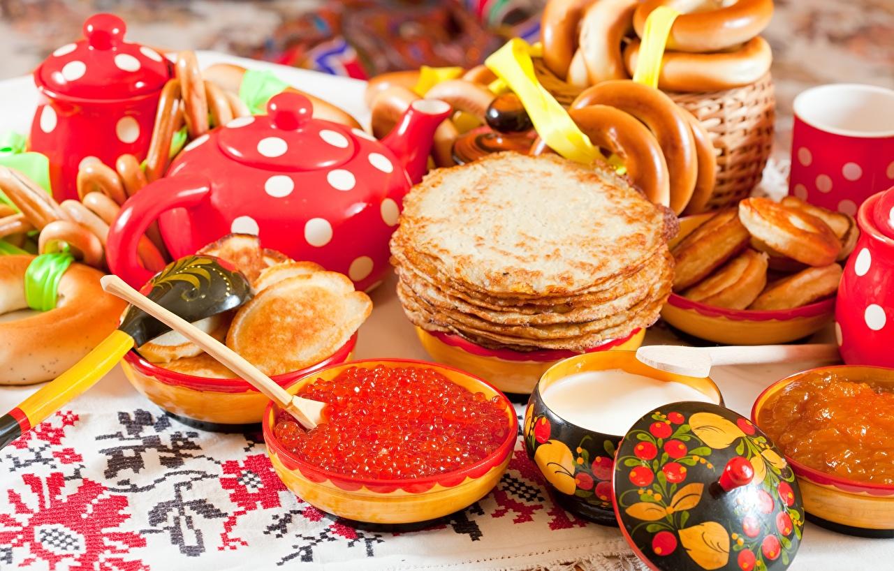 Картинки Блины Икра Продукты питания Еда Пища