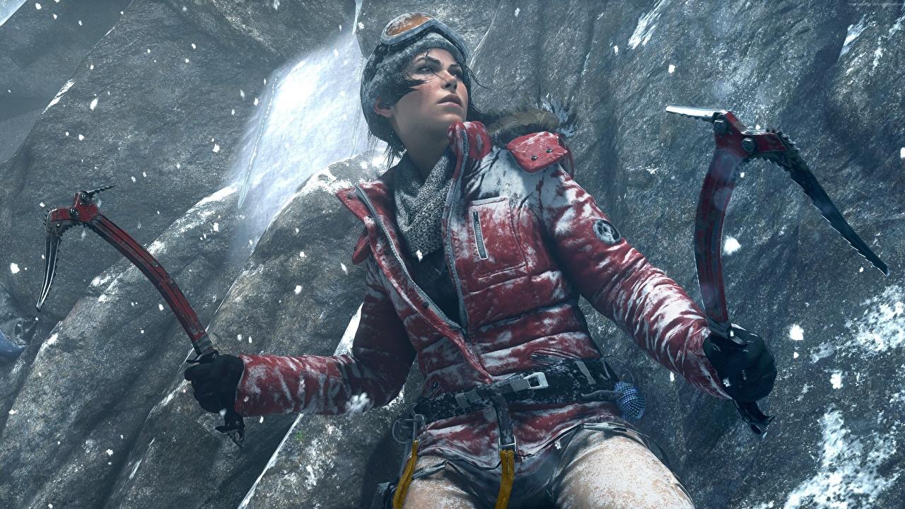 Обои Rise of the Tomb Raider Лара Крофт Альпенист Куртка Девушки 3D Графика Игры
