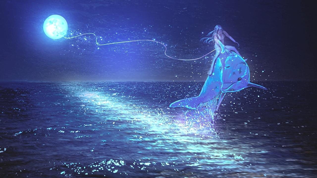 Фото Дельфины волшебство Море Фантастика луной ночью Магия Фэнтези луны Луна Ночь в ночи Ночные