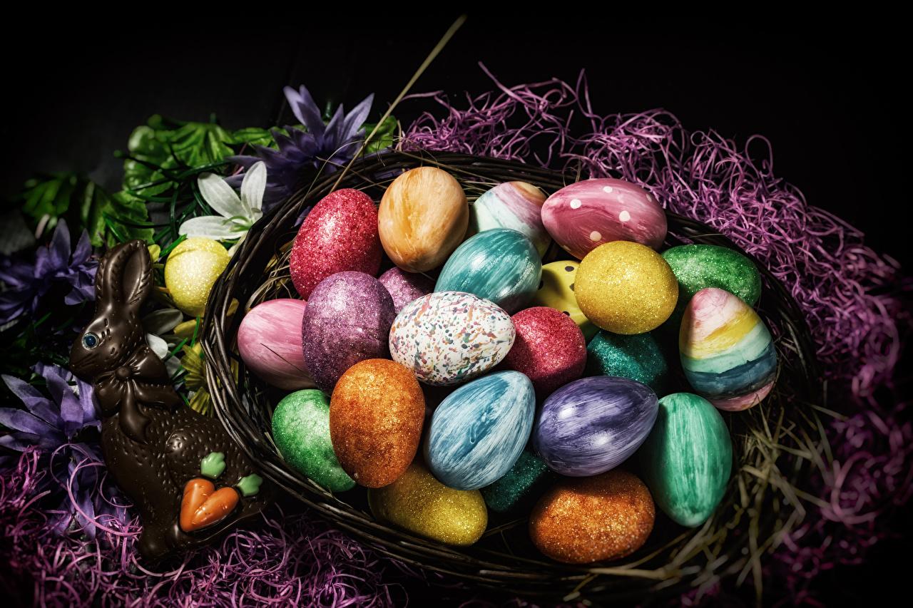 Фотографии Пасха кролик Разноцветные яйцо Шоколад Корзина сладкая еда Кролики яиц Яйца яйцами корзины Корзинка Сладости