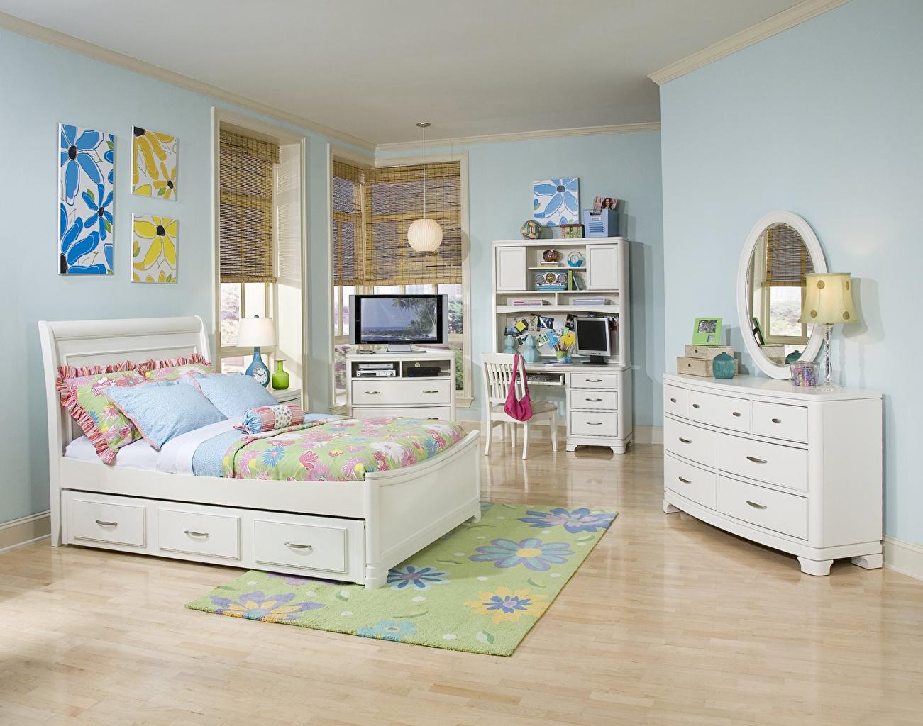 Картинка Детская комната Интерьер Кровать Подушки Дизайн постель кровати подушка дизайна