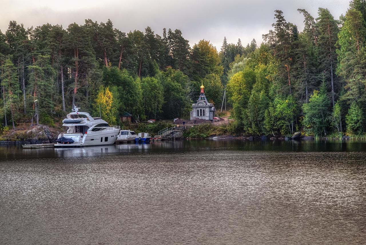 Обои Церковь Россия Ladoga Lake Valaam Island HDR Природа Леса Озеро Яхта Причалы HDRI Пирсы Пристань