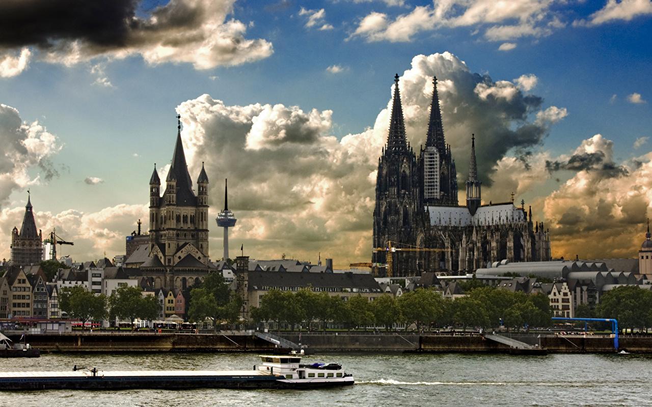 Картинка Кёльн Германия Rhine, Cologne cathedral Речные суда Реки город река речка Города
