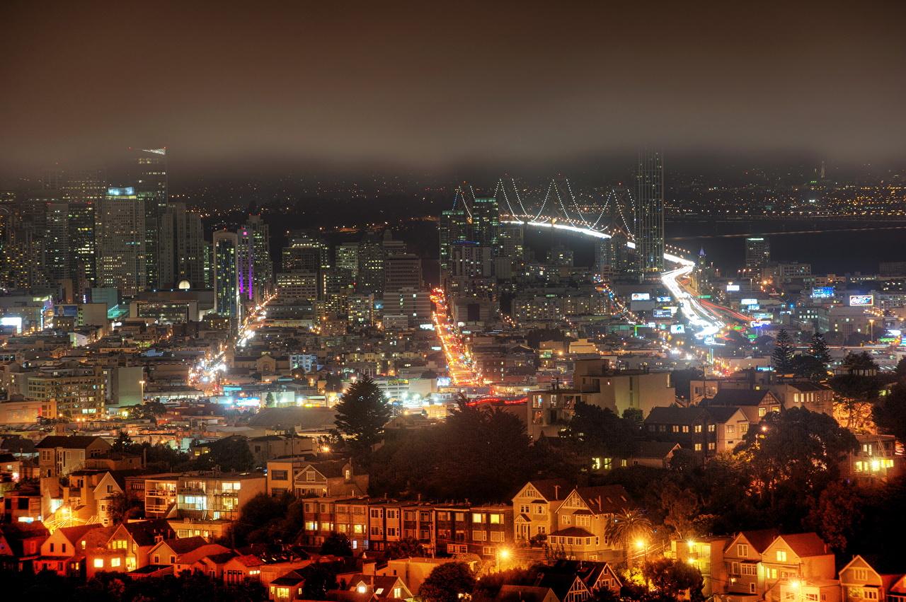 Фото Сан-Франциско америка Ночь Дома город США штаты ночью в ночи Ночные Здания Города