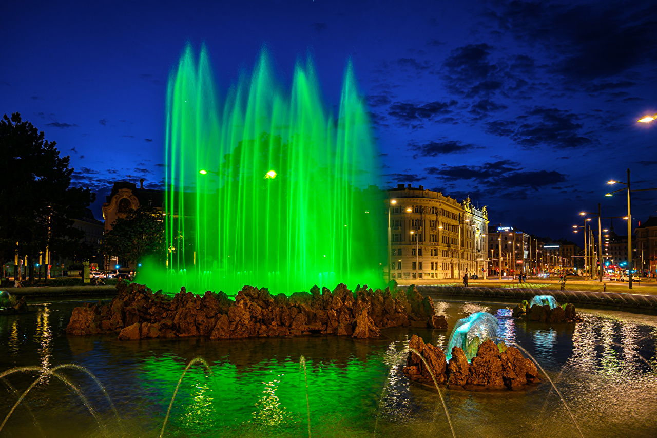 Фотография Вена Австрия Фонтаны Улица ночью Уличные фонари Города улиц улице Ночь в ночи Ночные город