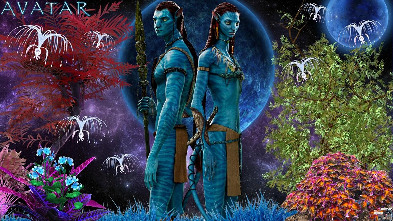 Фотографии Аватар инопланетянин Jake Sully, Neytiri два кино Инопланетяне 2 две Двое вдвоем Фильмы