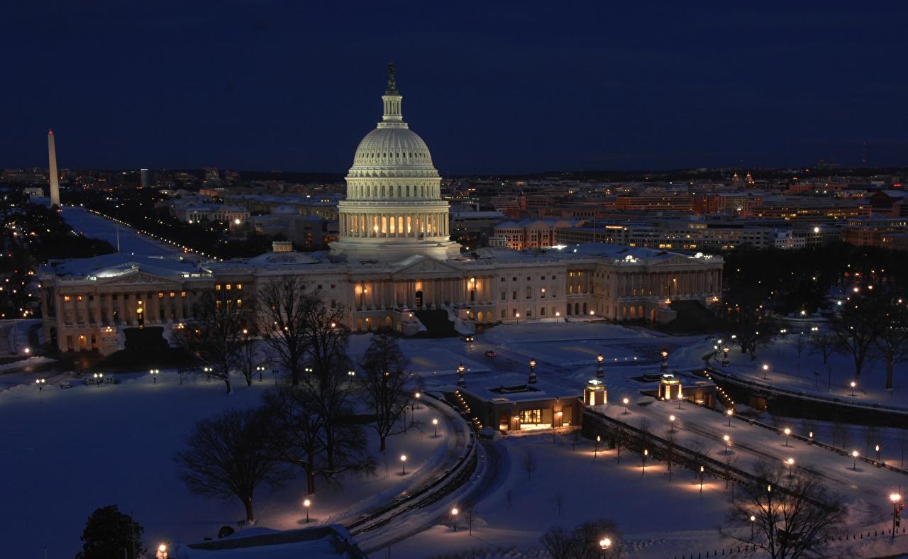 Фотография Вашингтон США district of Columbia, Capitol Зима Ночь Города штаты зимние Ночные