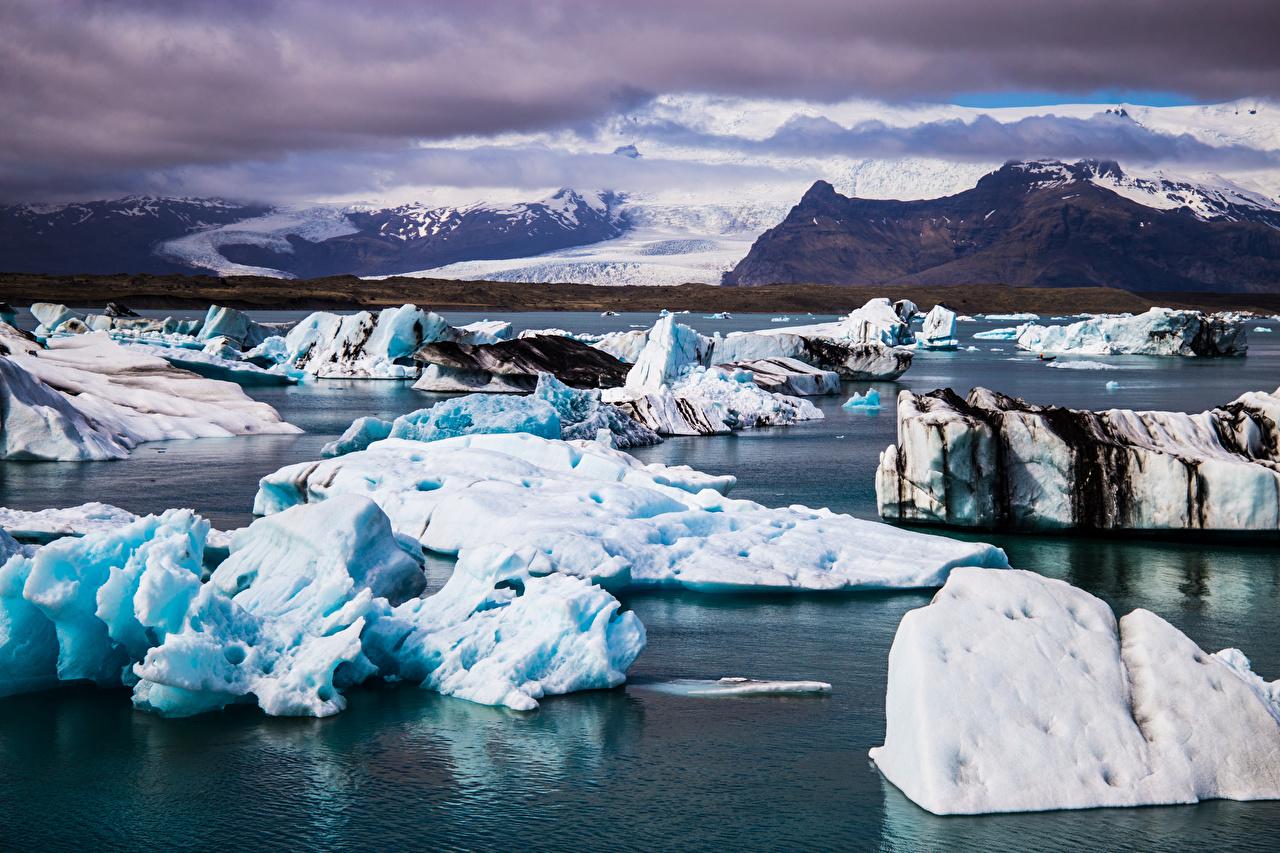 Фотография Исландия Jökulsarlon Лед гора Природа облако льда Горы Облака облачно