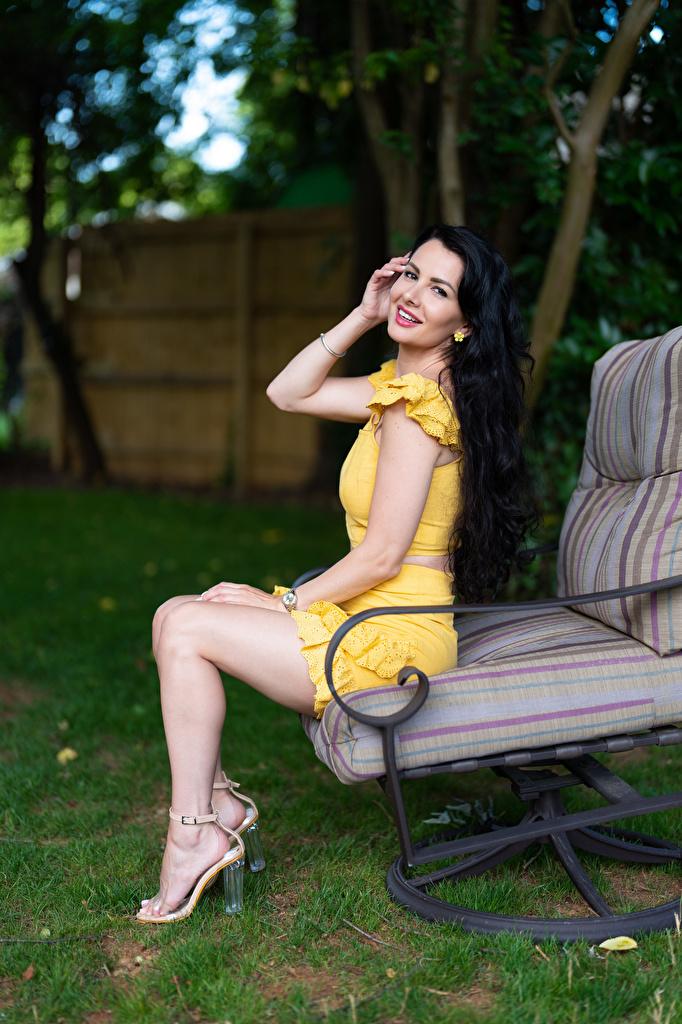 Фотографии Victoria Bell брюнетки Девушки Ноги Кресло сидящие смотрят  для мобильного телефона Брюнетка брюнеток девушка молодая женщина молодые женщины ног сидя Сидит Взгляд смотрит