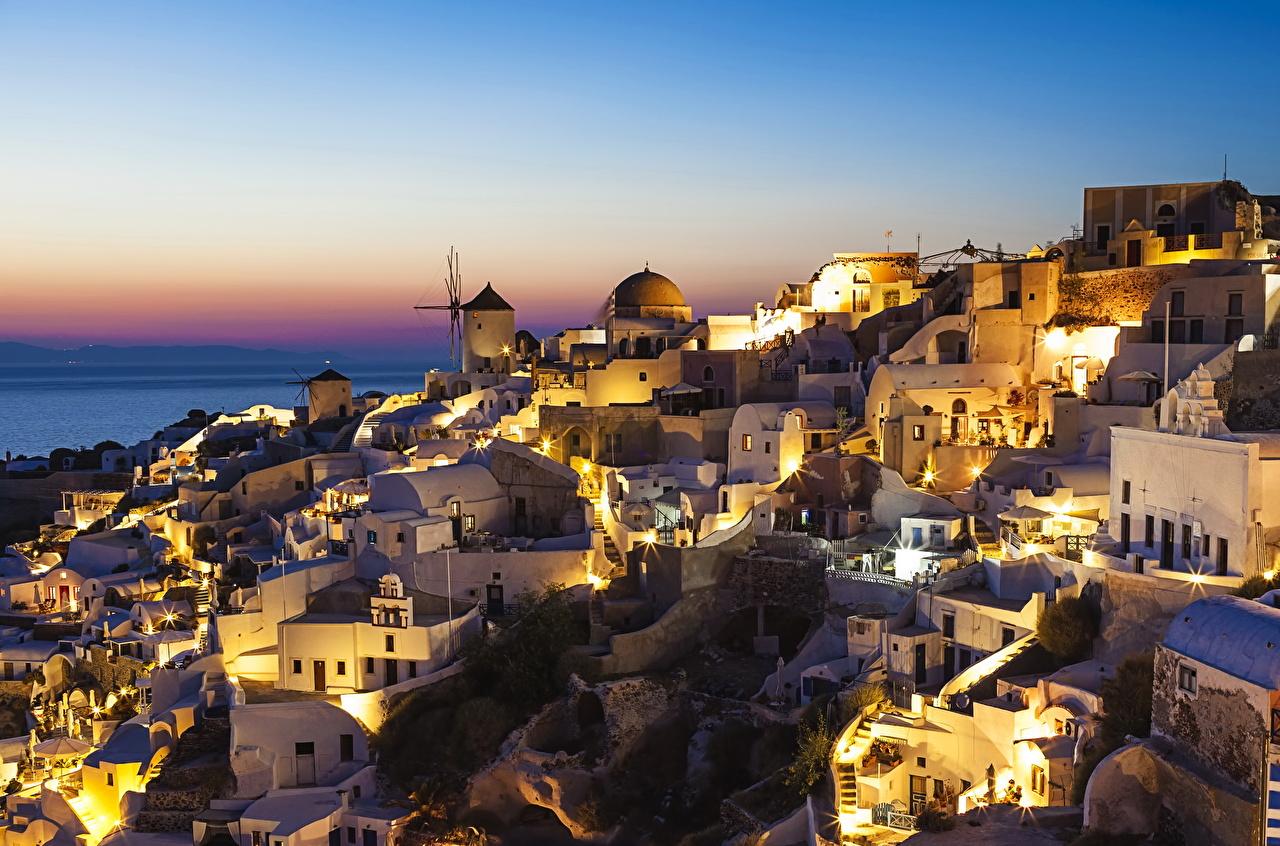 Фотографии Санторини Греция ночью Здания Города Тира Фира Ночь в ночи Ночные Дома город