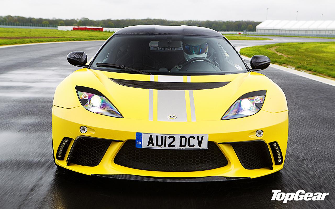 Картинка Лотус Evora GTE,top gear, the stig желтая Фары Спереди Автомобили Lotus Желтый желтые желтых фар авто машины машина автомобиль