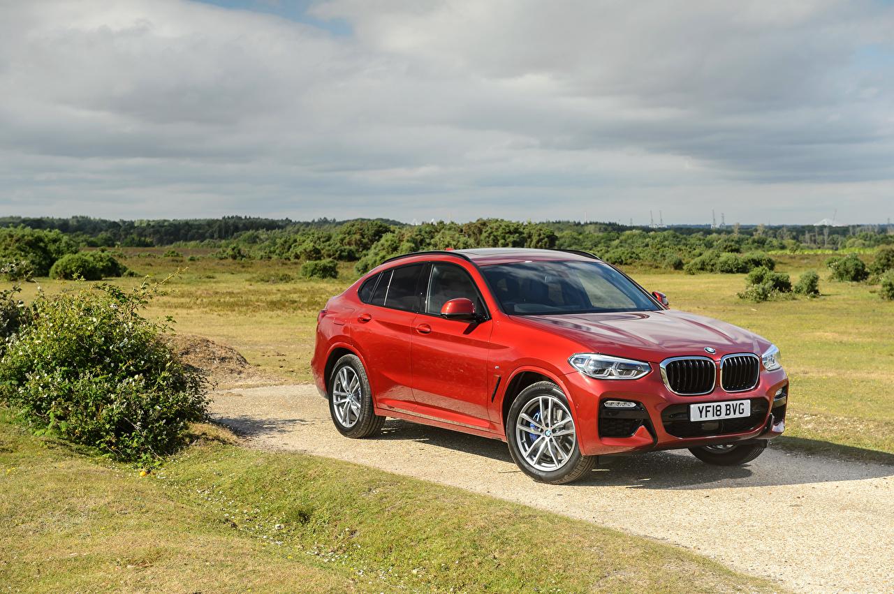 Фотография БМВ 2018 X4 xDrive20d M Sport красная автомобиль BMW красных красные Красный авто машина машины Автомобили