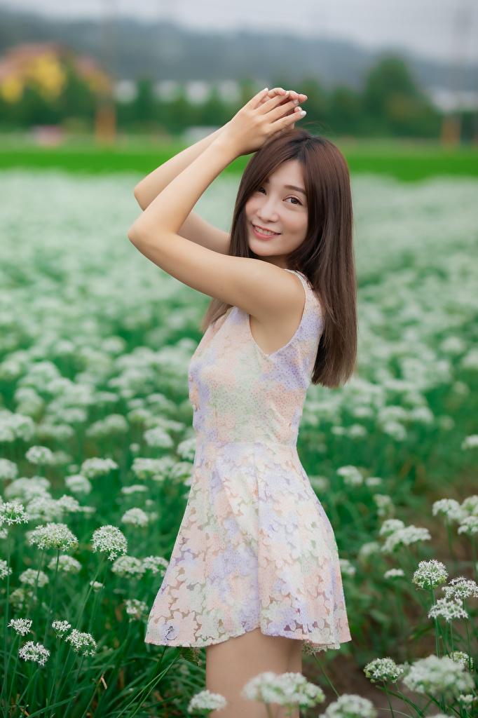 Картинки Поза молодая женщина Азиаты рука Взгляд Платье  для мобильного телефона позирует девушка Девушки молодые женщины азиатки азиатка Руки смотрит смотрят платья