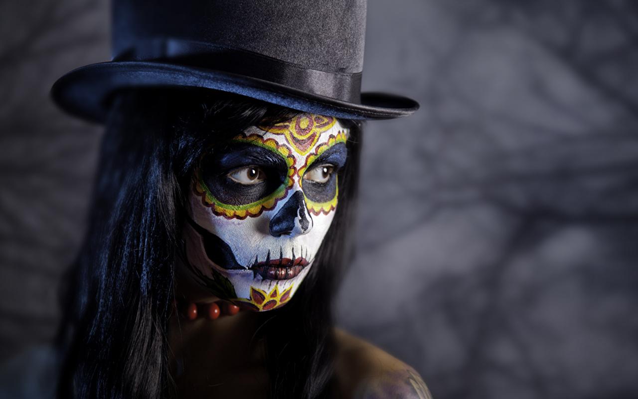 Обои Макияж Лицо Шляпа Девушки Хеллоуин мейкап