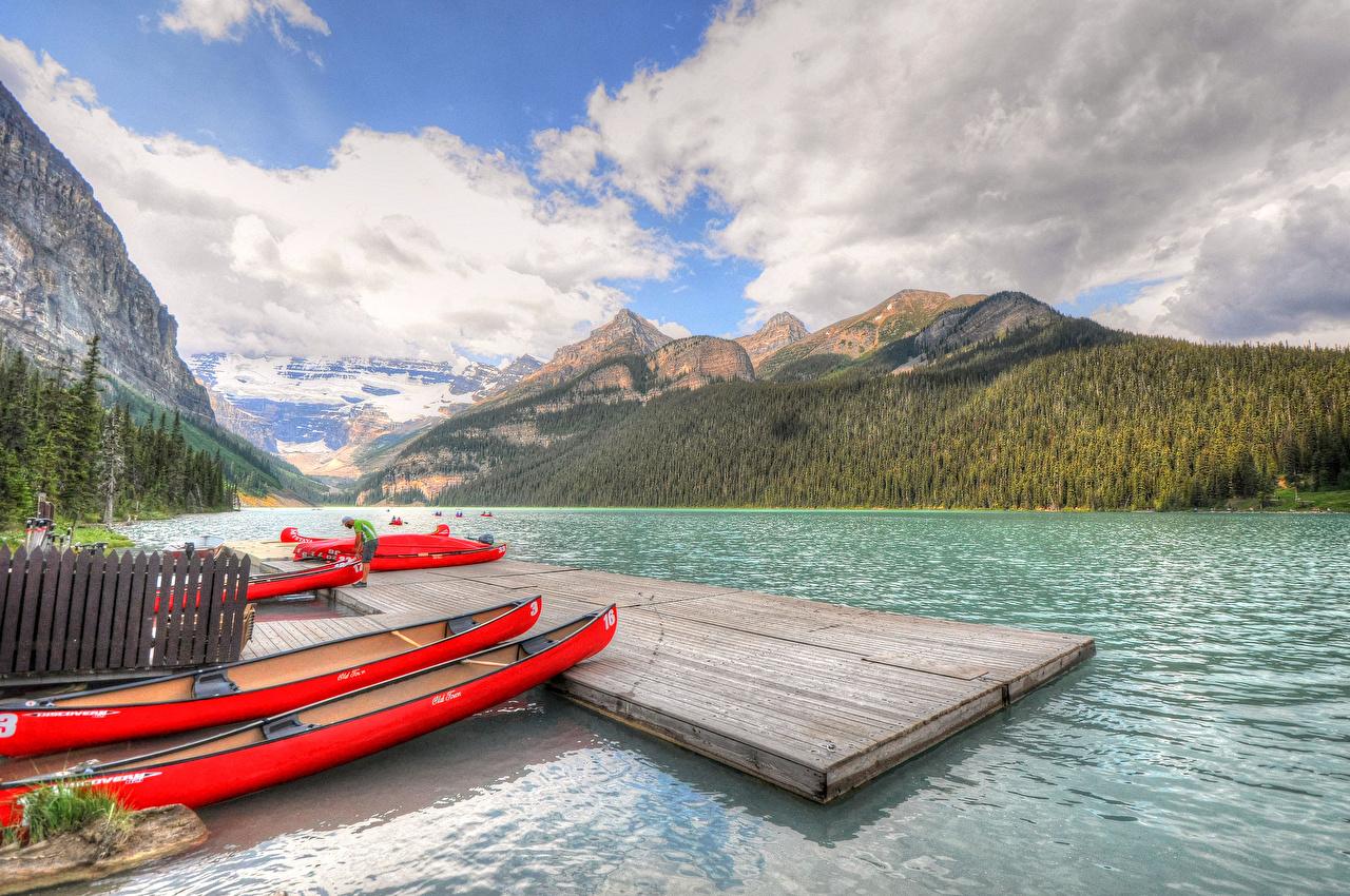 Фотографии Банф Канада Lake Louise Горы Природа Озеро Парки Пейзаж Лодки Облака гора парк облако облачно