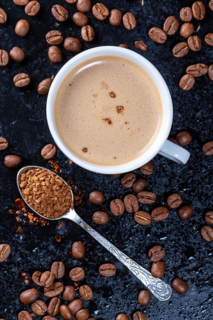 Картинки Кофе Капучино Зерна Еда Ложка чашке зерно Пища ложки Чашка Продукты питания