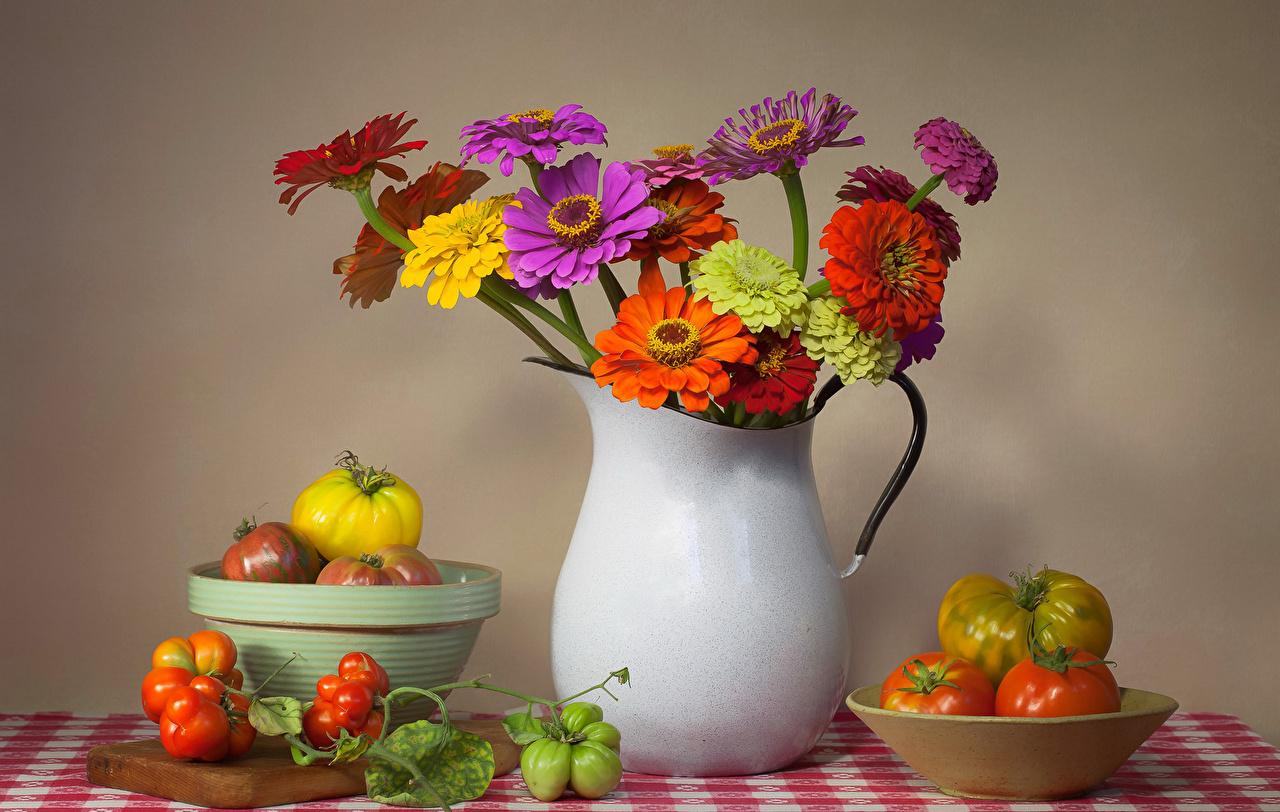 Фотографии Томаты Цветы Майоры вазе Продукты питания Натюрморт Помидоры Циннии Еда Пища вазы Ваза