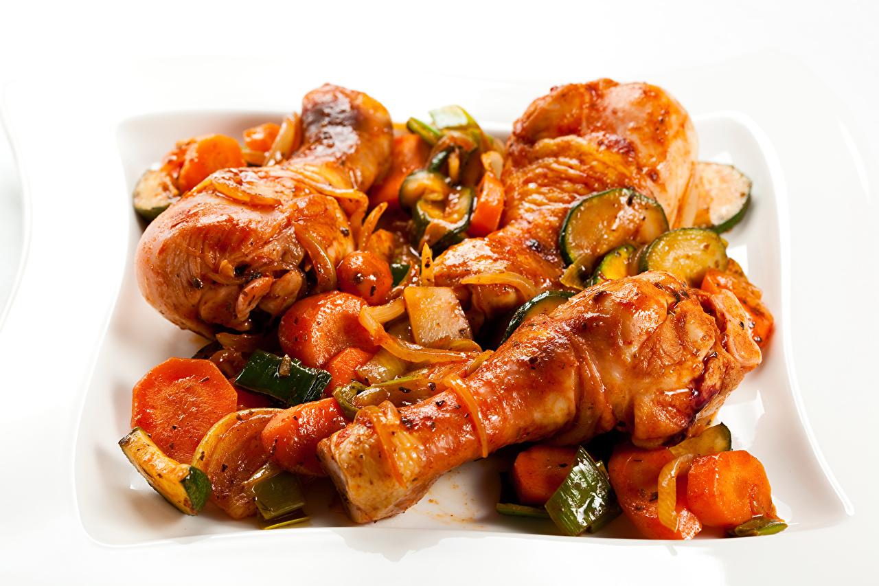 Фотография Курица запеченная Овощи Продукты питания Мясные продукты Еда Пища