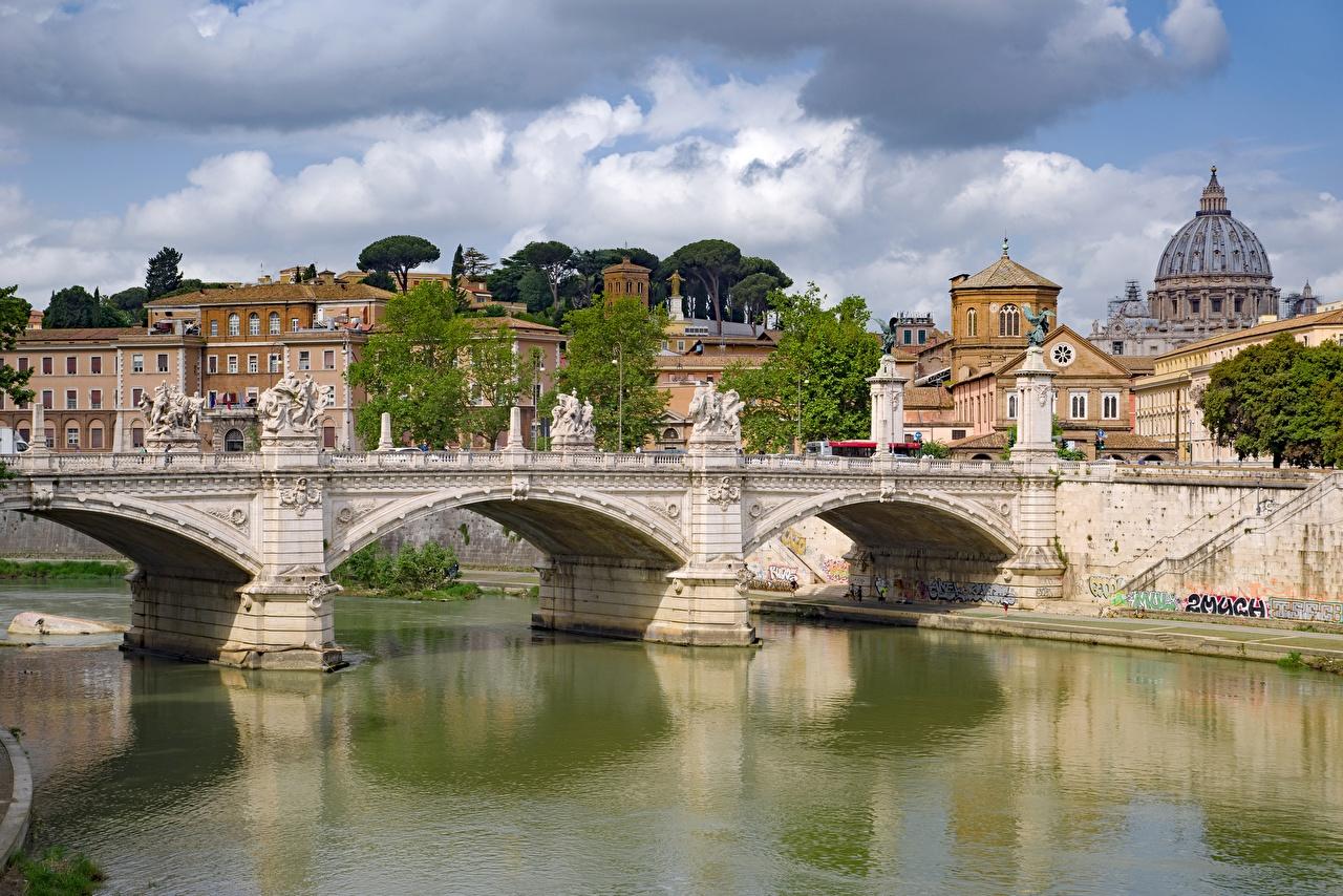 Фотография Рим Италия Tiber Мосты Реки город Скульптуры мост река речка Города скульптура