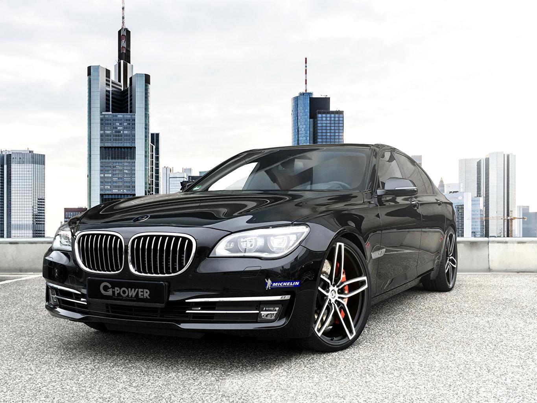 Фотографии БМВ 2015 2G-Power BMW 760i (F01) черные фар авто Спереди Металлик черная Черный черных Фары машины машина Автомобили автомобиль