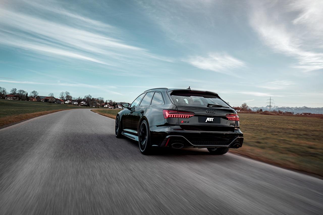 Фото Audi Универсал ABT RS 6 2020 2019 V8 Twin-Turbo Avant 700 черные вид сзади Автомобили Ауди черная Черный черных авто Сзади машины машина автомобиль