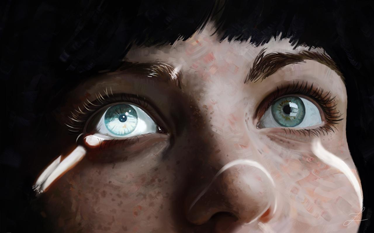 Фотографии Глаза Нос молодая женщина Рисованные Крупным планом носа девушка Девушки молодые женщины вблизи