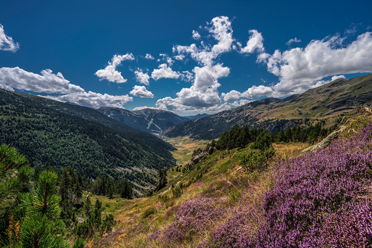 Картинки Андорра Soldeu, Pyrenees Долина гора Природа Небо Облака Горы облако облачно