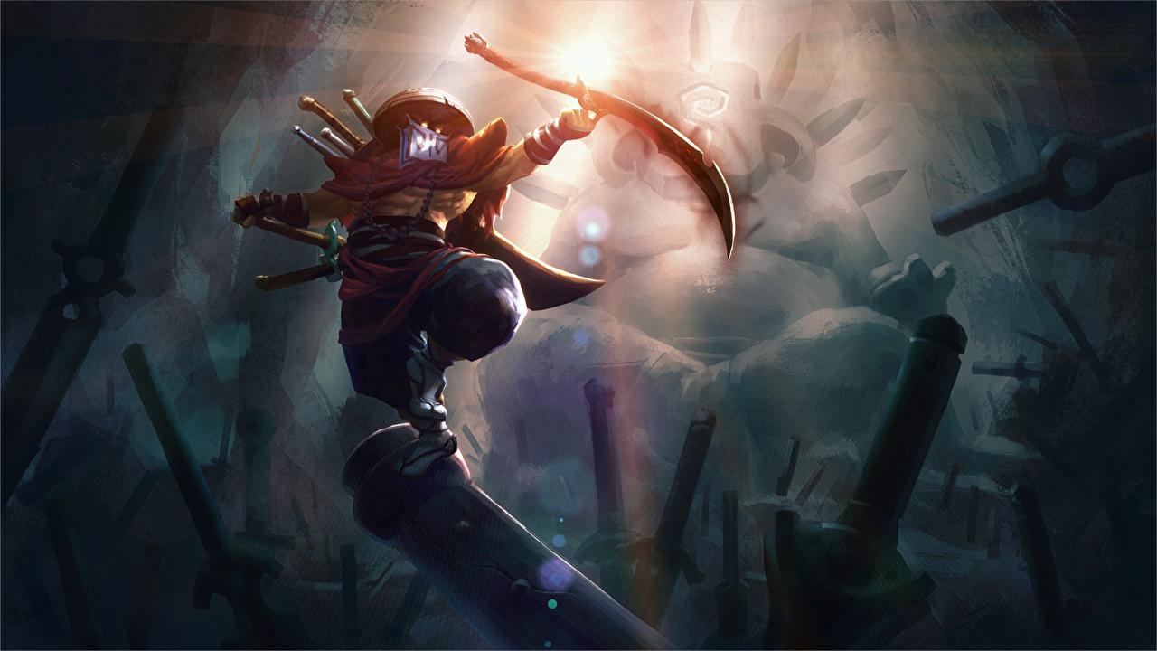 Картинка DOTA 2 Джагернаут Мечи воин Balance of the Bladekeeper Игры Juggernaut меч меча с мечом воины Воители компьютерная игра
