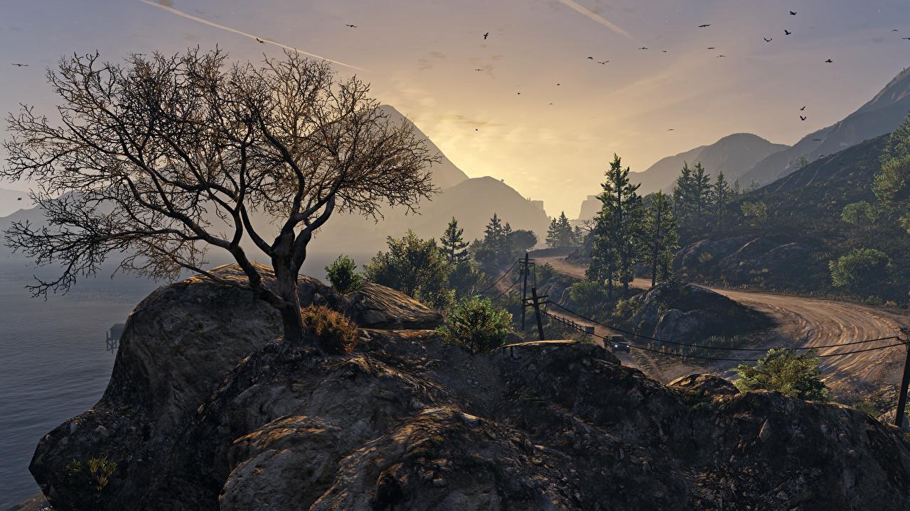 Обои ГТА 5 Горы Природа Игры Деревья GTA 5