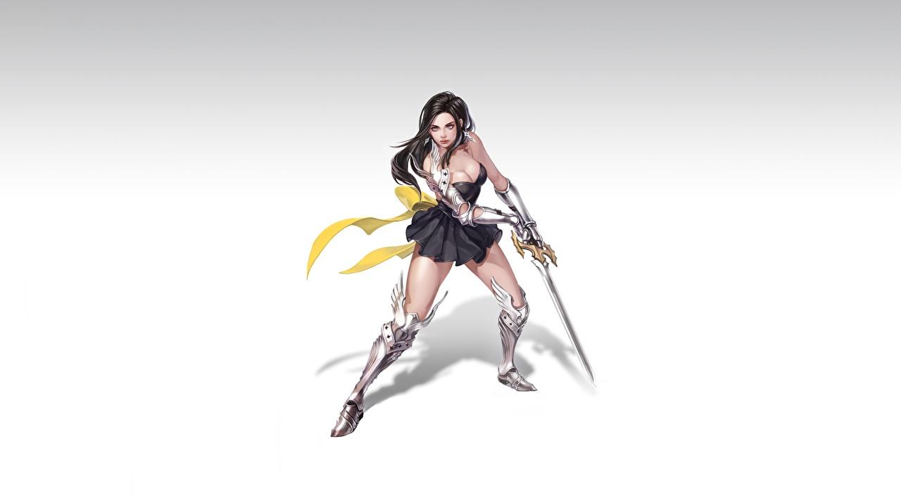 Фотография меча Доспехи Брюнетка Воители Hye Jeong Hwang красивый Девушки Фантастика Ноги меч Мечи броня броне с мечом доспехе доспехах брюнеток брюнетки воин воины Красивые красивая Фэнтези девушка молодые женщины молодая женщина ног