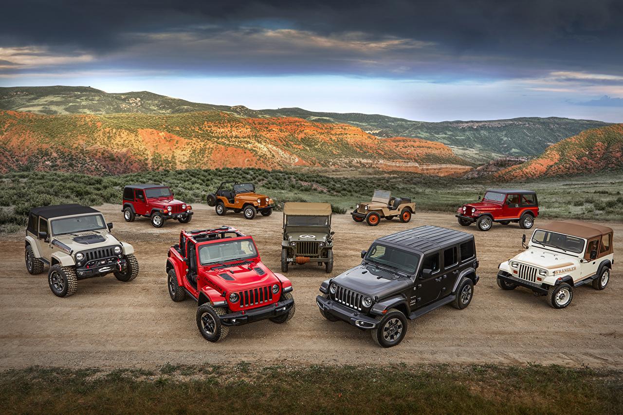 Фото Jeep Авто Много Джип Машины Автомобили